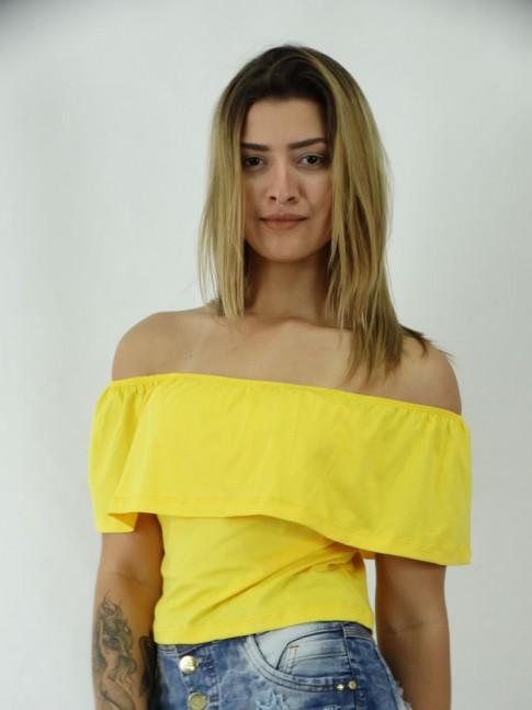 Blusa Cropped em Viscolycra Ciganinha Lisa
