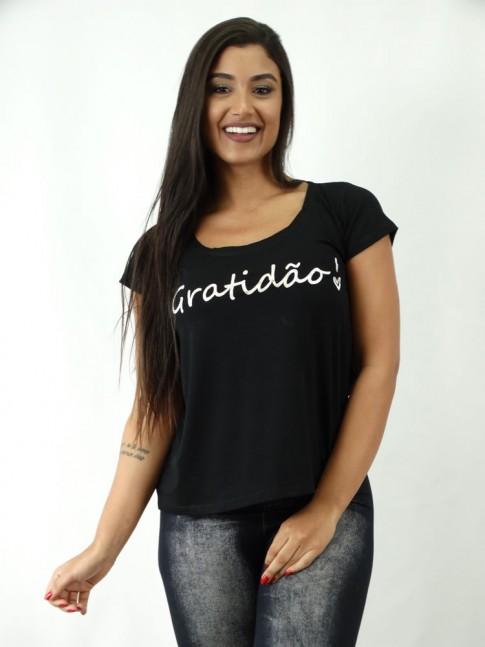 T-shirt em Viscolycra Estilo Mullet Preto Gratidão [1812087]