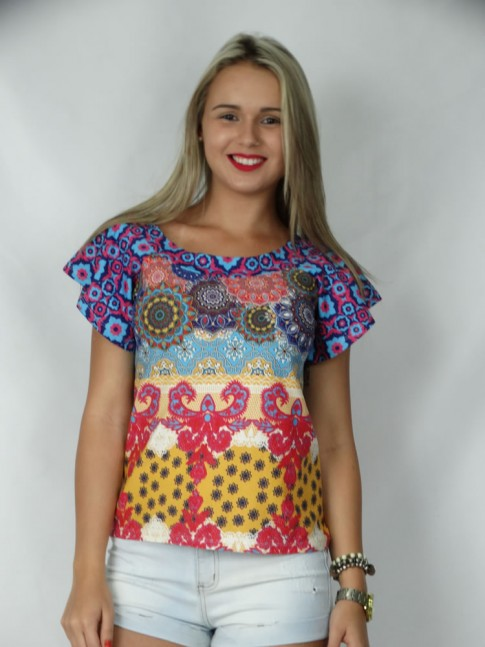 308 - Blusa Estampa Colorida com Manga Curta com Decote Canoa