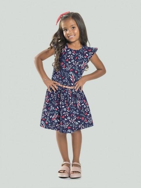 Vestido Infantil em meia Malha Estampado com cinto Azul marinho Flores [2008209]