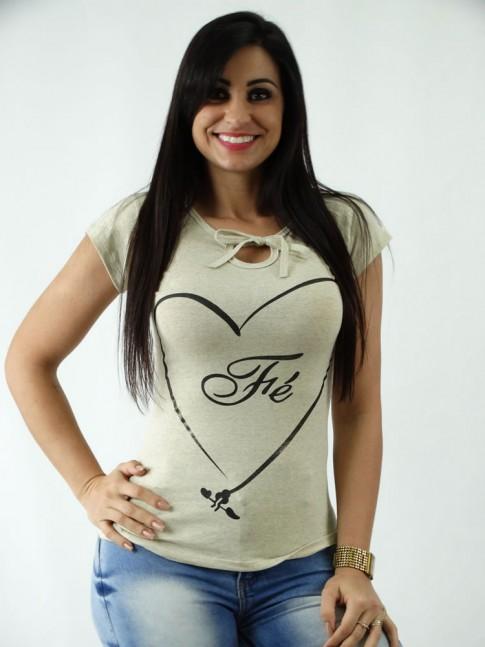 T-shirt em Viscolycra Mullet com Amarracao Estampa Coracao e Fe