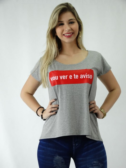 T-shirt em Viscolycra Estilo Mullet Vou Ver e Te Aviso [1809110]