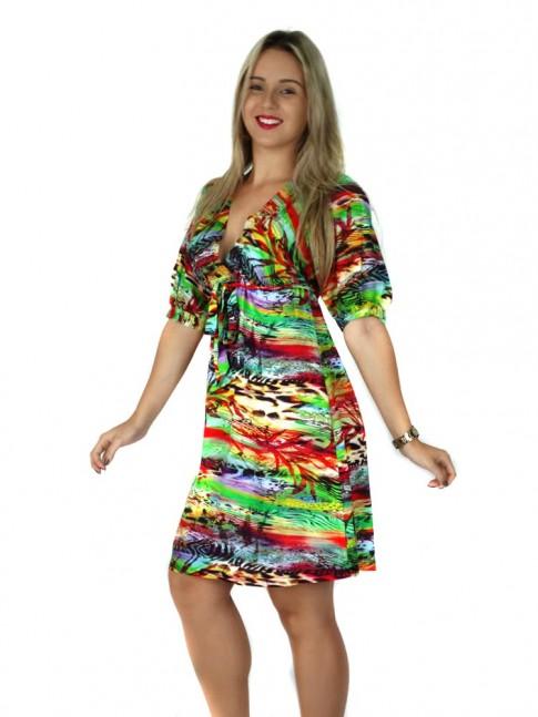 Vestido decote V  tecido viscose estampa reggae verde