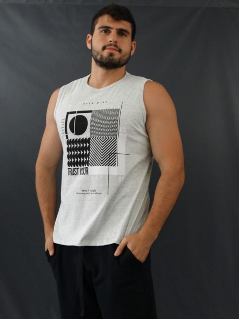 Camiseta Masculina Regata Estampada Geométrica Cinza [2010184]