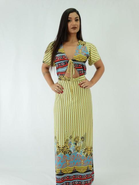 Vestido Longo Viscolycra Abertura e Amarraçao Elementos Colors