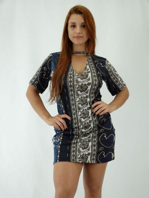 Vestido em Viscolycra Recorte V no decote Cahemir Elements Azul