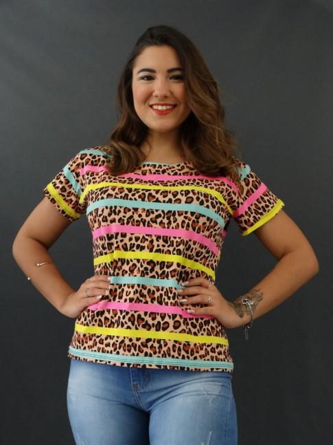 T-shirt Estampada em Viscolycra Onça Caramelo Listras Rosa, Amarelo e Verde [2012038]