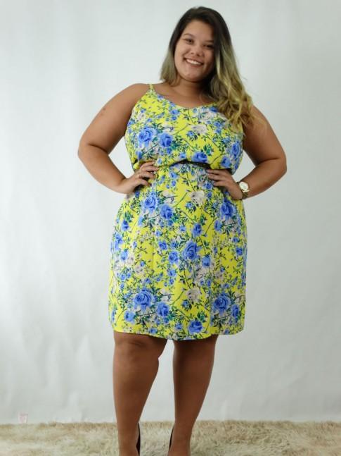 Vestido em Viscose Decote V Plus Size Amarelo Flores Azuis [1812037]