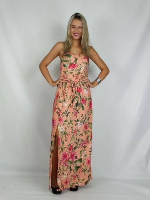 308 - Vestido em Viscolycra Longo com Fenda na Frente Salmão com Flores