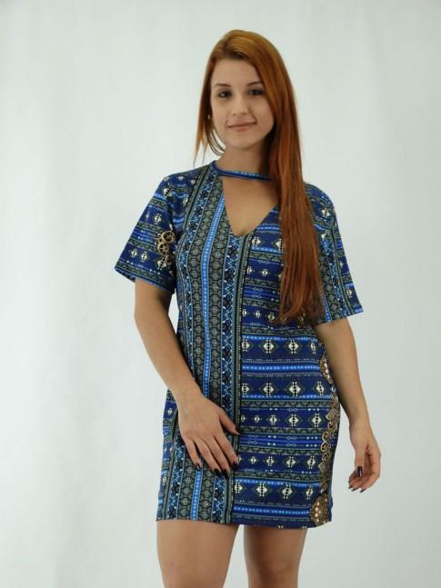 Vestido em  Viscolycra Recorte V no decote Etnica Azul