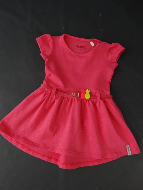 Vestido Infantil em Cotton com Manga Rosa Com Glitter [2008204]