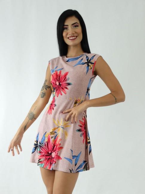 Vestido em Viscose Transpassado nas Costas Rose Flores Colors [1911048]