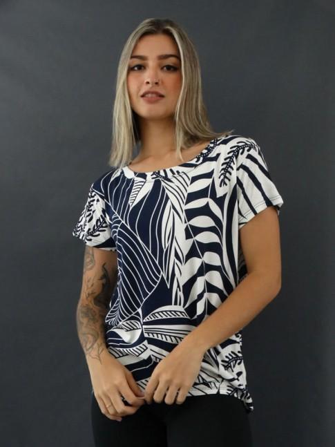 T-shirt Estampada em Viscolycra  Azul Marinho e Off Folhas [2012058]