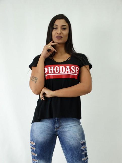 T-shirt em Viscolycra Mullet Estampa Phodase