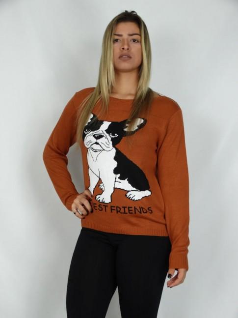 200-Blusa em tricot estampa bulldog