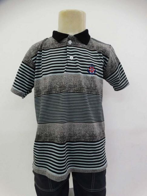 Camisa Polo Infantil em Malha Listras Verde com Cinza [1905019]
