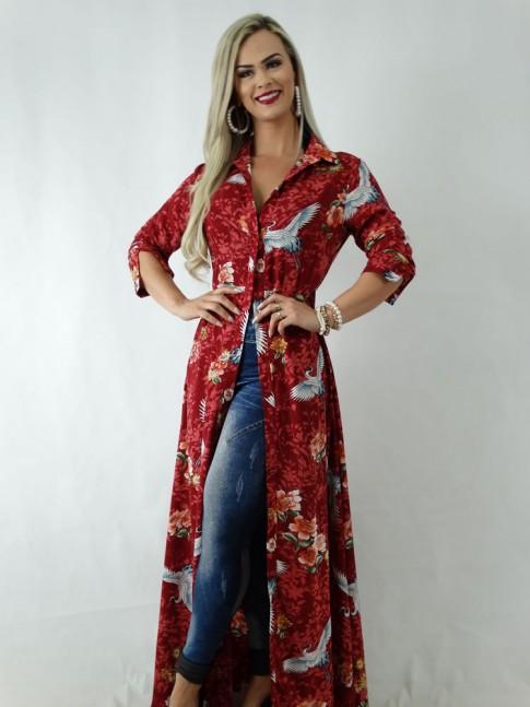 Vestido em Viscose Longo com Botões Vermelho Flores e Pássaros [1904052]