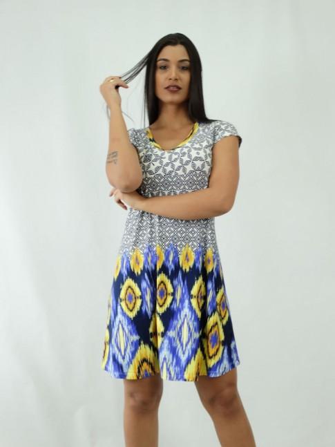 Vestido com gola careca e manguinha estampa étnica azul e amarela
