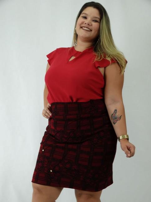 Saia Plus Size em Jacquard Nervura com Strass Vermelho e Preto
