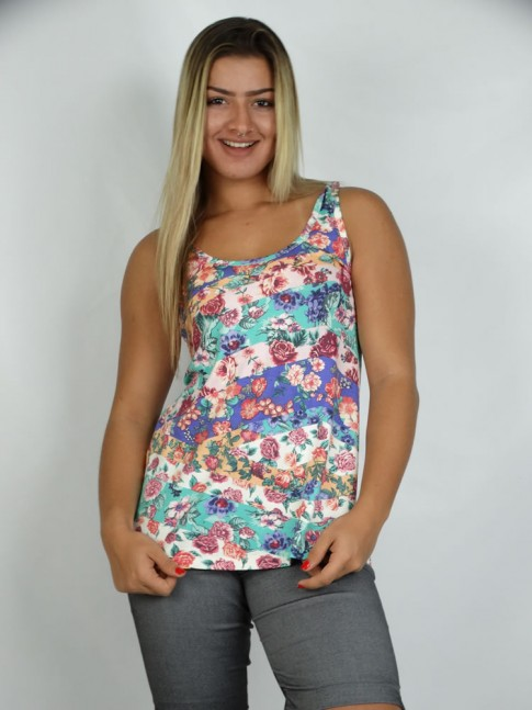 314 - Bata Camiseta em Viscolycra Estampa Flor Multicolor 591