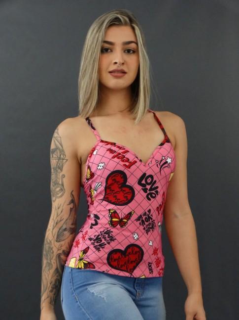 Blusa de Alça com Bojo em Suplex Rosa Love Corações [2011153]