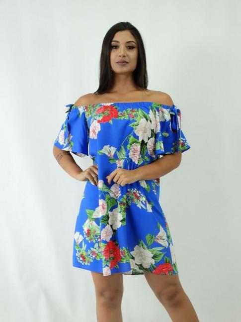 Vestido em Viscose Ciganinha Azul Flores [1902255]