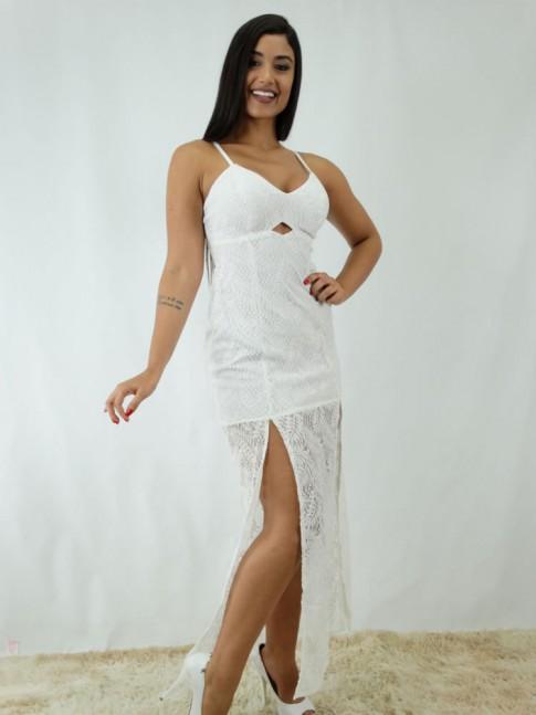 Vestido Longo com Fenda em Renda Branco [1812145]