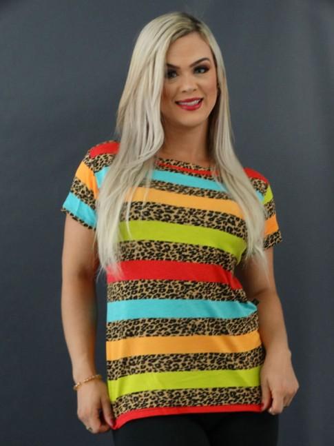 T-shirt Estampada em Viscolycra Onça Listras Vermelho, Azul e Laranja [2101008]