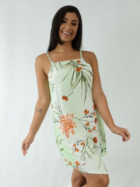 Vestido em Viscose de Alça Fina Assimétrico Verde Flores Ferrugem [1912003]