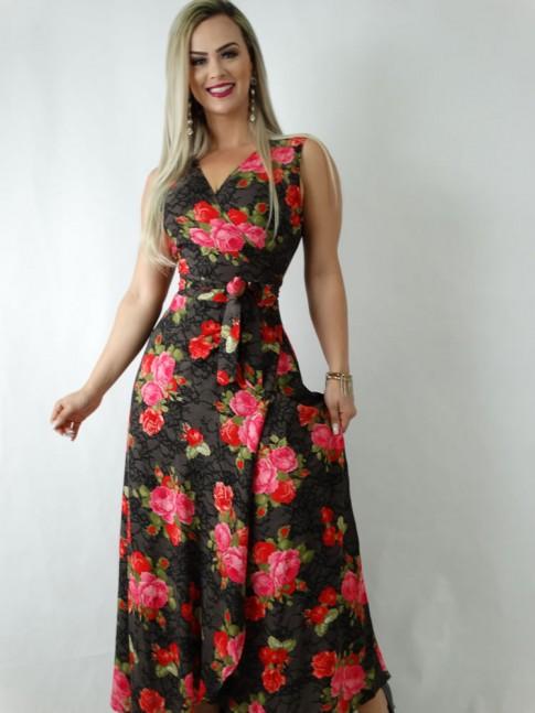Vestido em Viscose Envelope Transpassado de Alça Larga Preto Flores [1905012]