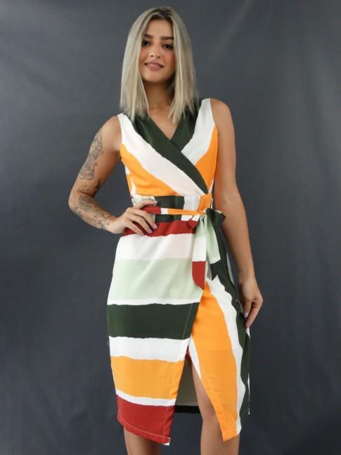 Vestido de Alça Larga Transpassado com Cinto em Musseline Mostarda, Verde e Branco [2012070]