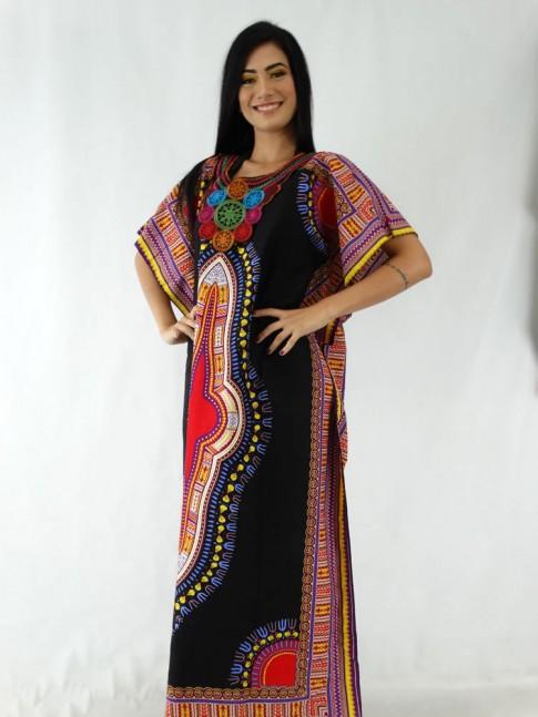 Saida de Praia em Algodão Decote com Detalhe Bordado Preto Étnico Colors [1911126]