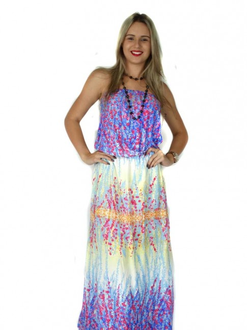Vestido de viscose longo tomara-que-caia estampa floral azul