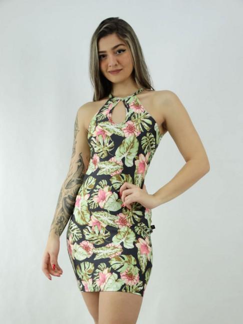 Vestido em Suplex Decote Gota Preto Folhas Verdes Flores Rosas [2006024]