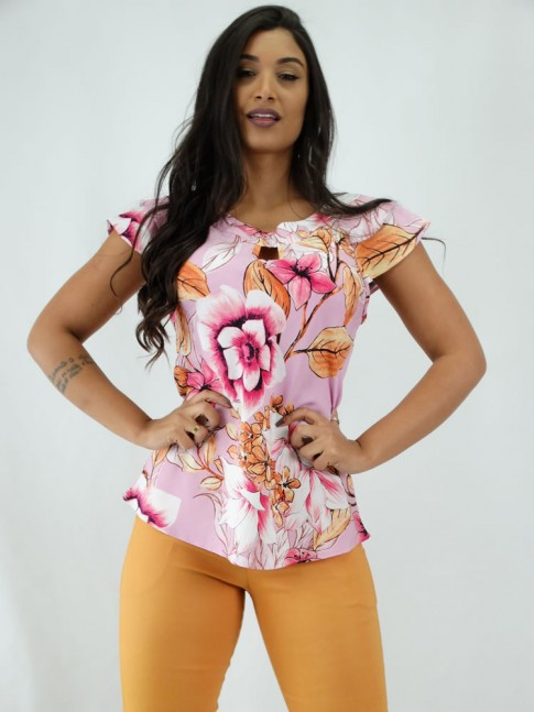 Blusa em Viscose detalhe Gota babado Sobreposto Rosa Flores