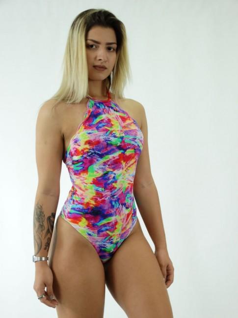 Body em Meryl estilo Nuvem com Frente Unica Estampado Colors