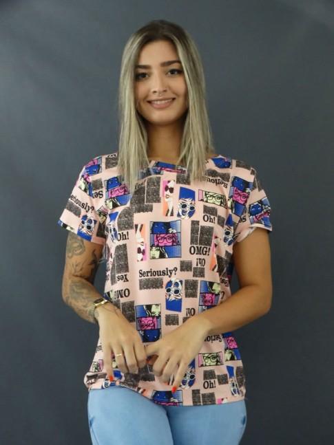 Blusa T-shirt Estampada em Viscolycra Rosa Quadrinhos [2103127]