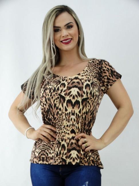 T-Shirt em Viscolycra Mulet Leopardo Caramelo [2003112]
