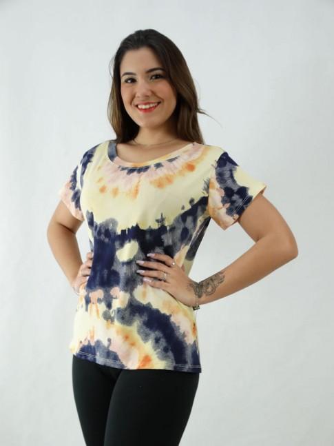 T-Shirt Tie Dye Viscolycra Laranja e Azul Marinho [2008075]