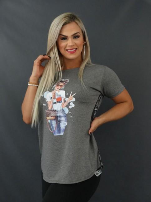 Blusa T-shirt Sobre Legging com Aplicação Lateral em Viscolycra Cinza Mulher [2103172]