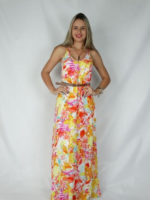 Vestido de viscose longo com duas alças cruzadas estampa floral hot