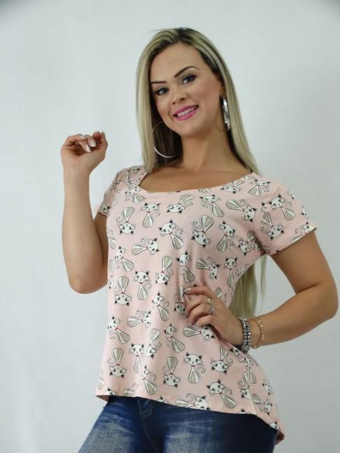 T-shirt em Viscolycra Estilo Mullet Rosa Estampa Gatinhas [1902085]