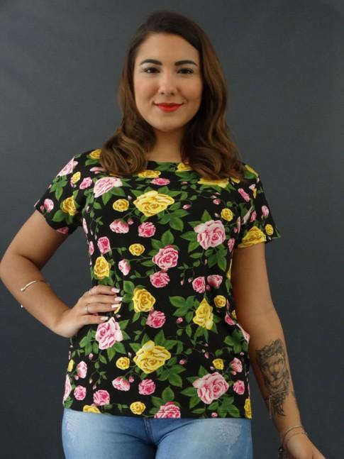 T-shirt Estampada em Viscolycra Preto Flores Rosa [2012011]
