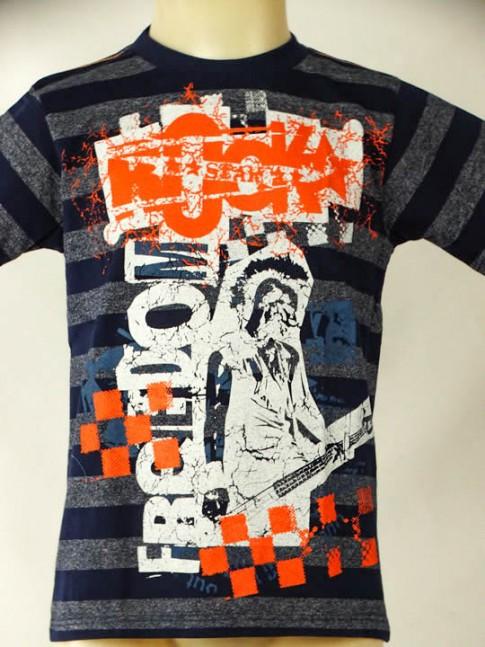 T-shirt infantil azul-marinho com estampa freedom