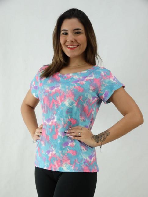 T-Shirt Tie Dye Viscolycra Azul Claro e Rosa Pink [2008077]
