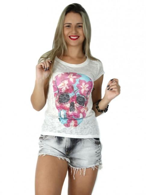 313 - T-Shirt Baby Look em Devorê Estampa Caveira Florida 60