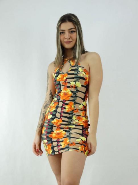 Vestido em Suplex Decote Gota Preto Bege Flores Coral [2006023]