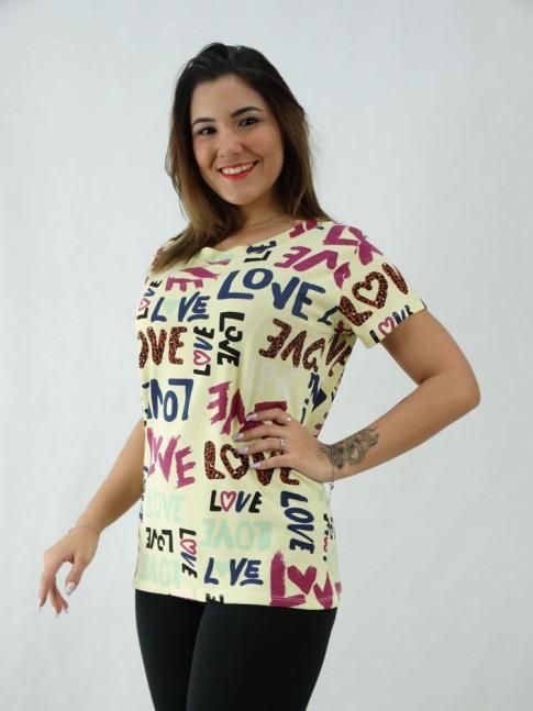 T-Shirt Estampada em Viscolycra Love Colors Bege [2008066]
