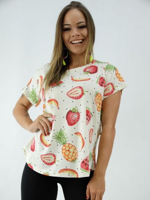 T-shirt Baby Look em Viscolycra Off White Frutas Poa [2001312]