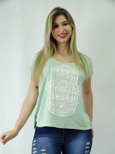 T-shirt em Viscolycra Estilo Mullet Mão de Fatima [1810172]